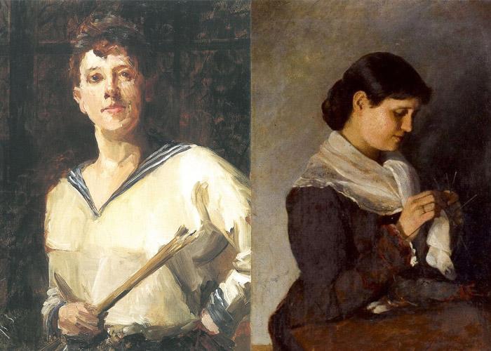 Автопортрет и портрет Веры Репиной.