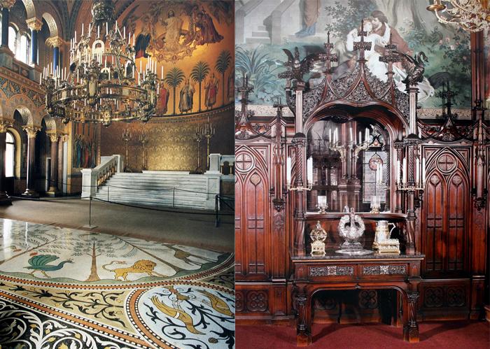Убранство часовни и элементы деревянной резьбы в неоготическом стиле.