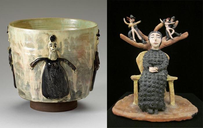 Чаша и скульптура с образами современных женщин.