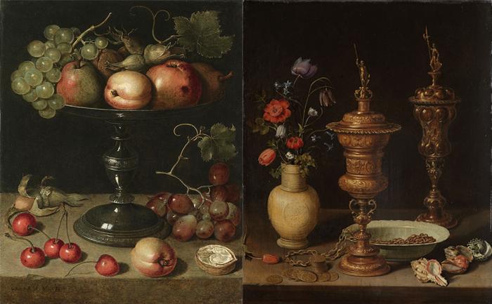 Натюрморт с фруктами. Натюрморт с цветами и золотыми кубками.