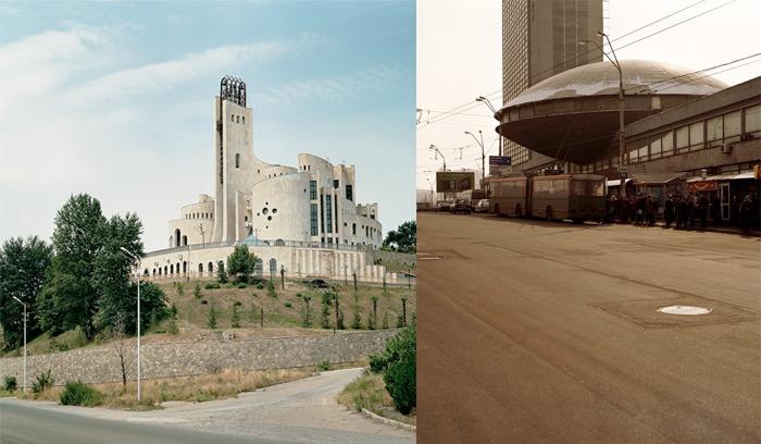 Дворец бракосочетания в Тбилиси, Грузия, и Институт информации в Киеве, Украина.