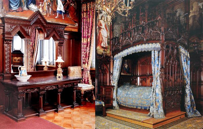 Фрагменты королевской спальни с неоготическими мотивами.