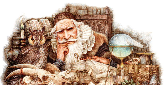 Иллюстрации к историям о волшебниках.