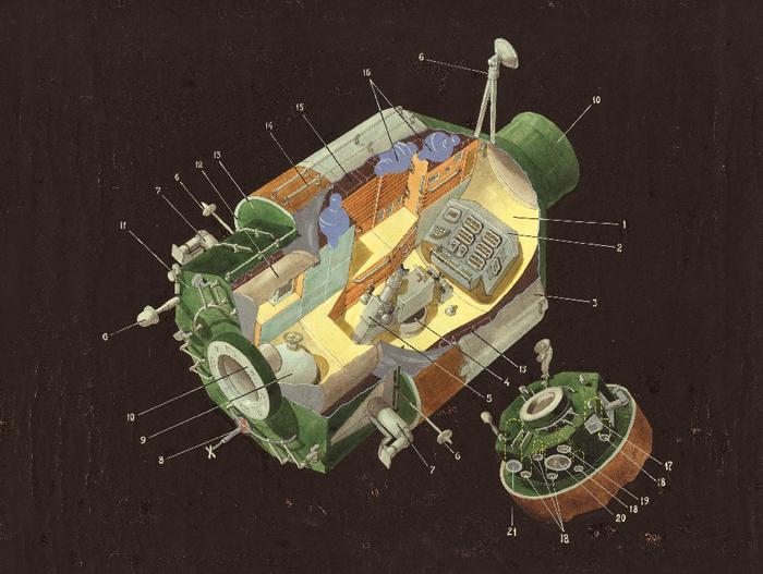 Схема модуля Квант орбитальной станции Мир.