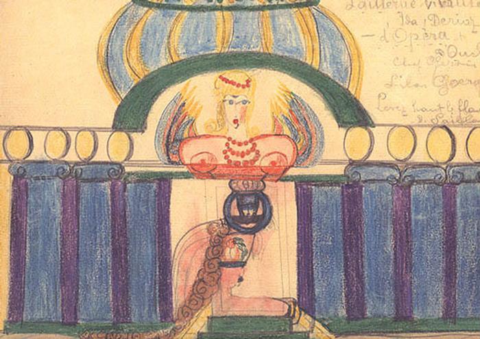 В рисунках Алоизы повторяется мотив театра - она мечтала о сцене...