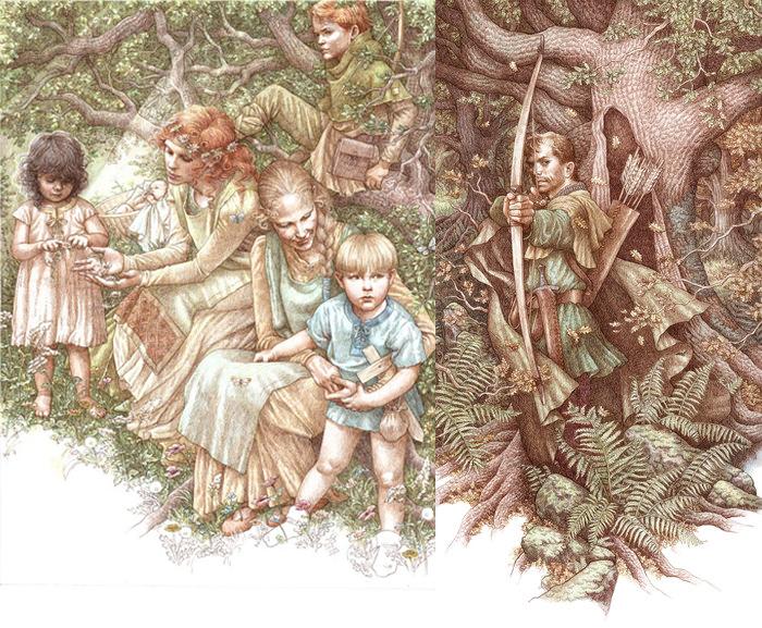 Иллюстрации к историям о Робине Гуде.