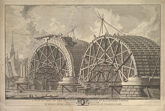 Вид строящегося моста Блэкфрайерс через Темзу.