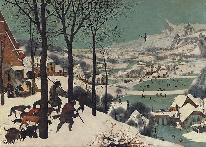 Охотники на снегу.