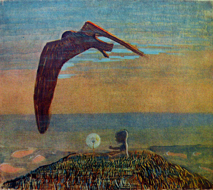 В работах Чюрлениса часто присутствуют образы злого рока, фатума.