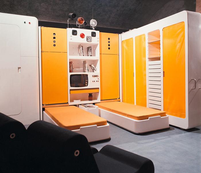 Спальный блок, спроектированный Джо Коломбо.