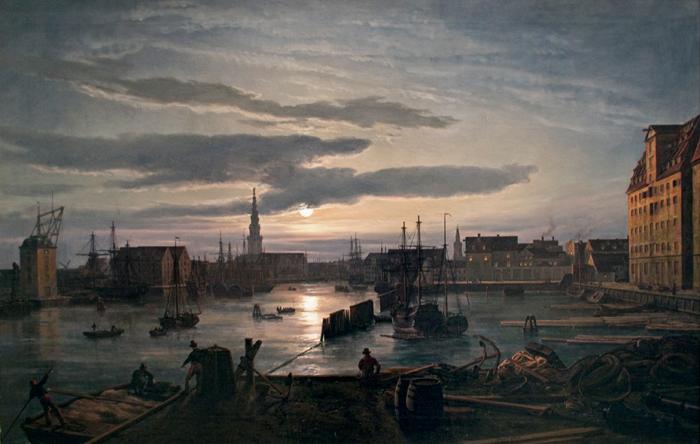 Пристань в Копенгагене лунной ночью.