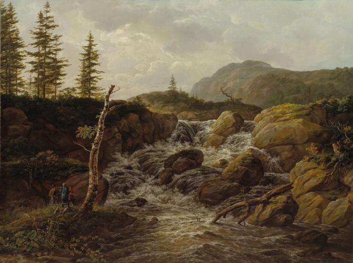 Норвежский горный пейзаж с водопадом.