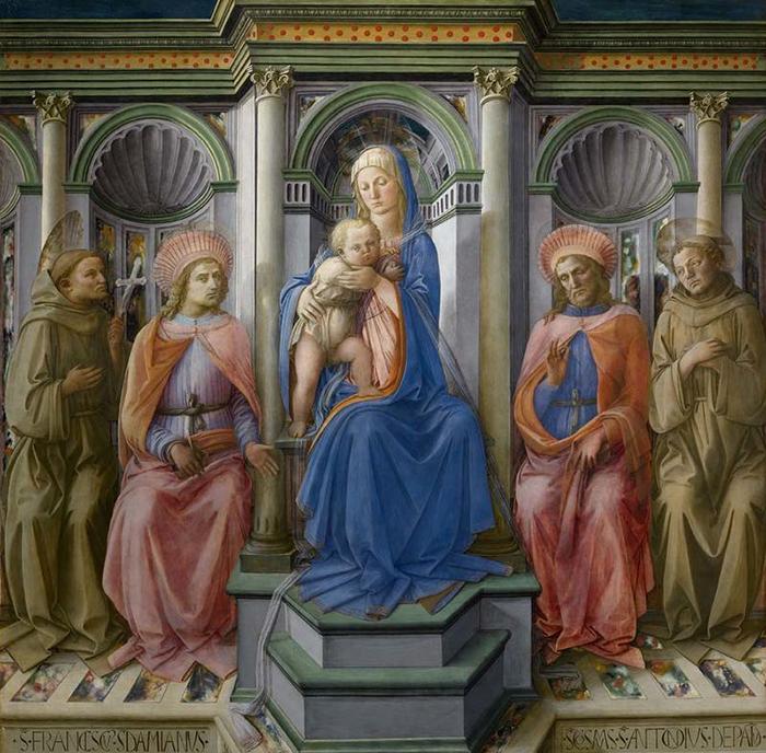 Богоматерь с Младенцем на троне со святыми Франциском, Дамианом, Космой и Антонием Падуанским