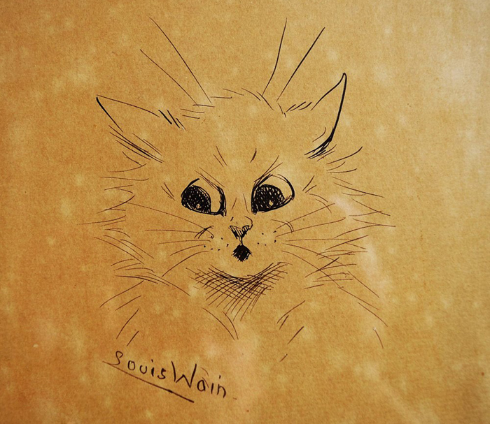 Набросок котика с человеческими эмоциями.