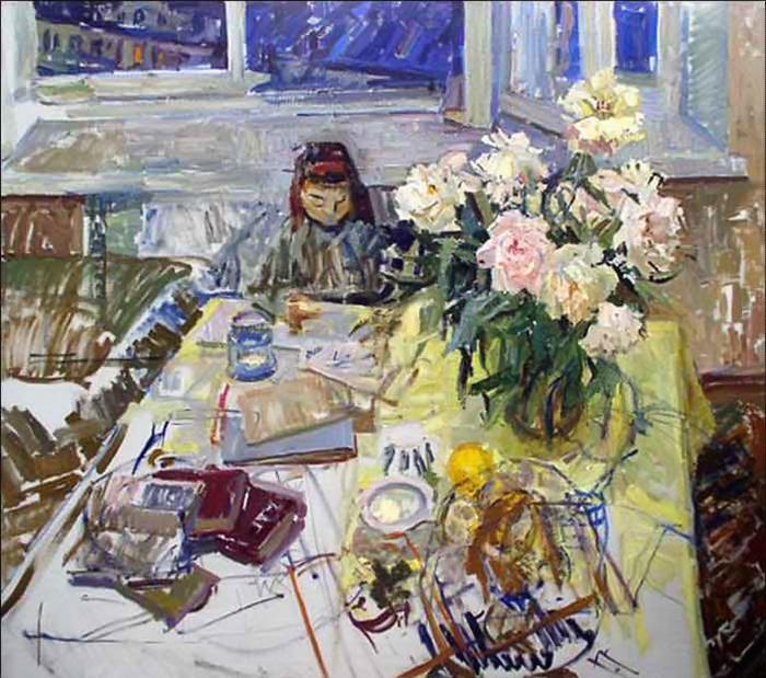 Майя Копытцева писала обыкновенные интерьеры, натюрморты и бытовые сцены.
