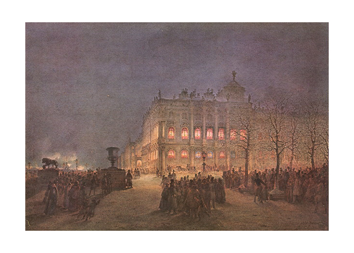 Зимний дворец ночью.