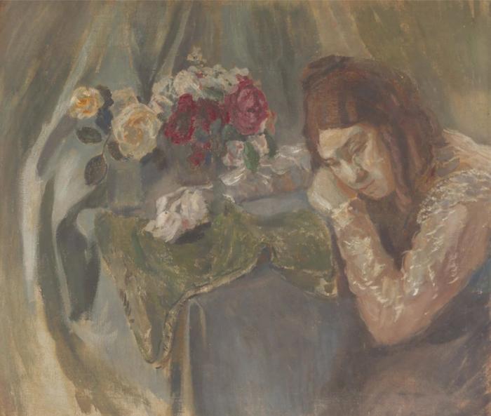 Портрет сестры. Девушка с розами.