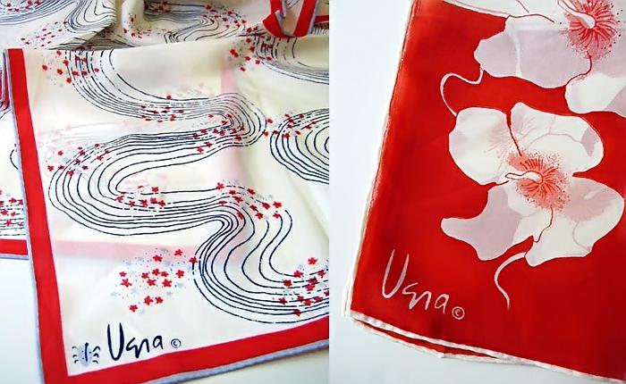 Шелковые шарфы с логотипом Веры.