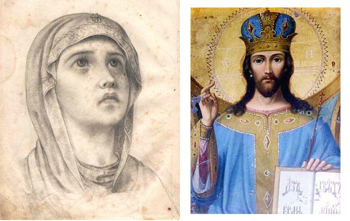 Набросок и икона Григория Журавлева.