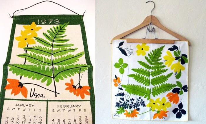 Текстильный календарь и салфетка.