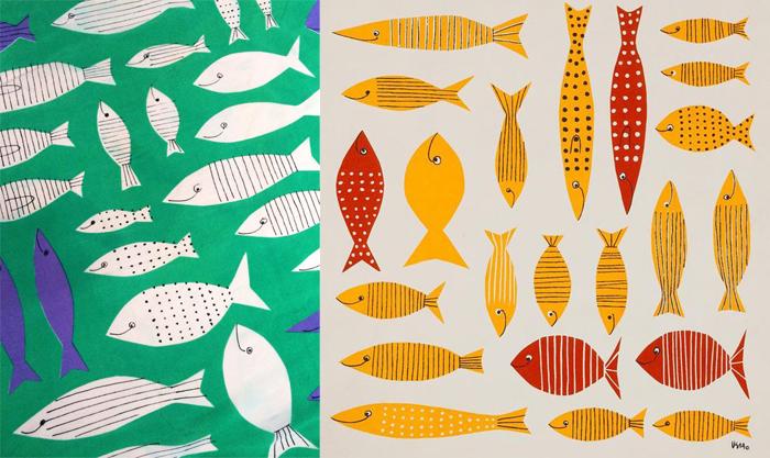 Эскизы Веры Нейманн со стилизованными рыбками.