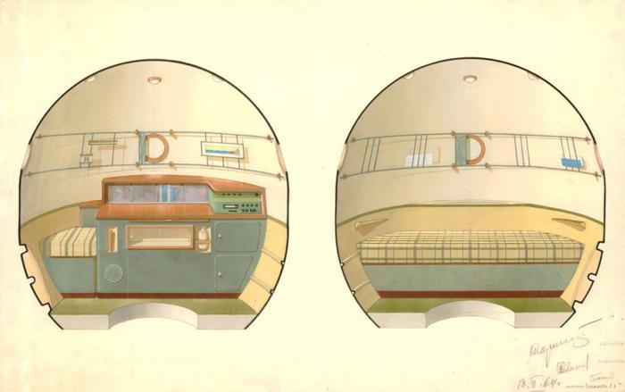 Интерьер орбитального отсека корабля Союз, утверждённый С. П. Королёвым.