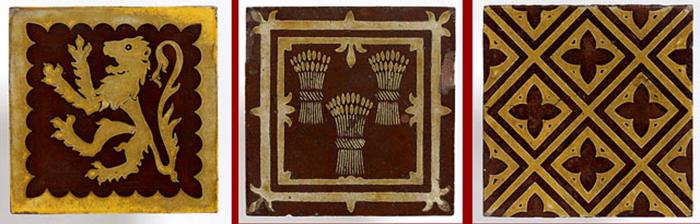Плитка со средневековыми орнаментами, разработанная Пьюджином.