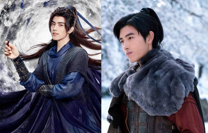 Артур в костюмированных дорамах. Слева - промо-фото к дораме Бессмертие, где он сыграл ученика героя Ло Юньси.