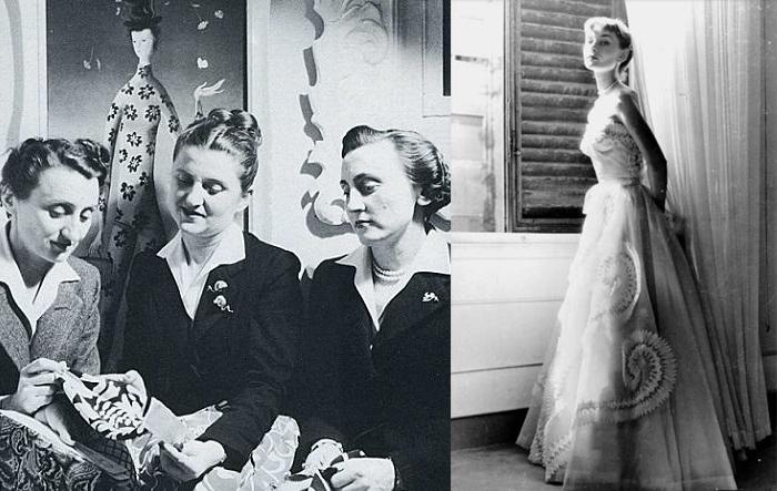 Сестры Фонтана и Одри Хепберн в одном из их платьев.
