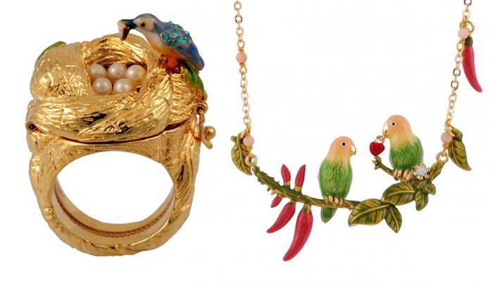 Кольцо и колье с образами птиц.