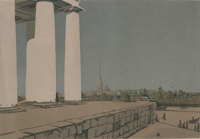 Колоннада Биржи и Петропавловская крепость.