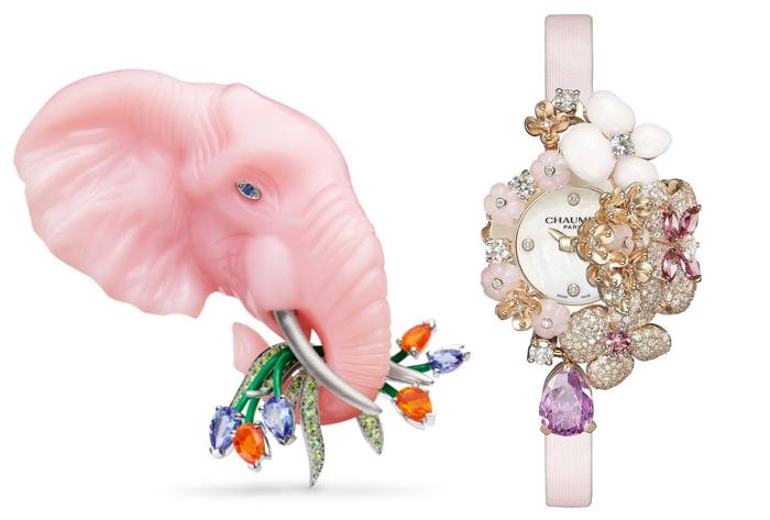Брошь в форме слона и ювелирные часы.