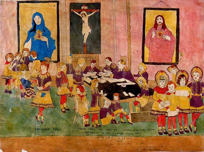 В работах Дарджера часто встречаются религиозные мотивы.