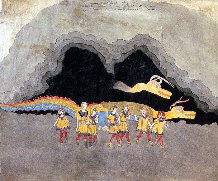 Героини книги Дарджера и их друг - дракон.
