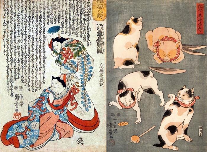 Кошачьи работы Куниёси из разных серий.