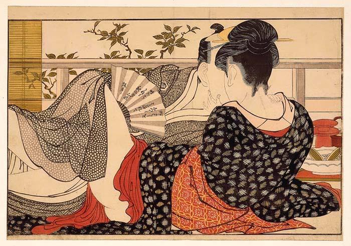 Утамаро выполнял и эротические гравюры.