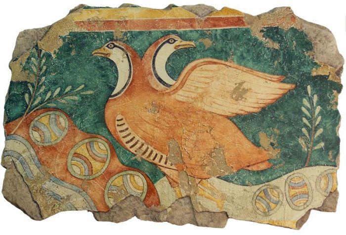 Фрагмент фрески с птицами.