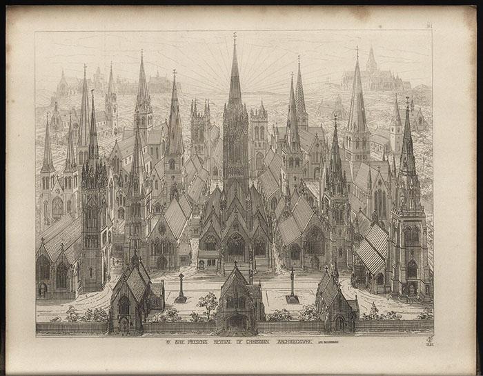 Рисунок Огастеса Пьюджина - средневековый город.