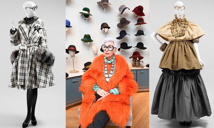 Айрис Апфель на выставке своего гардероба.