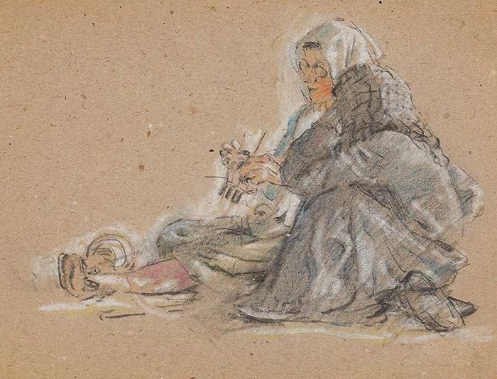 Вязание. Зарисовка из Карлага.