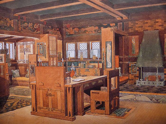Иллюстрация интерьера Уильяма Морриса, созданная Брэдли.