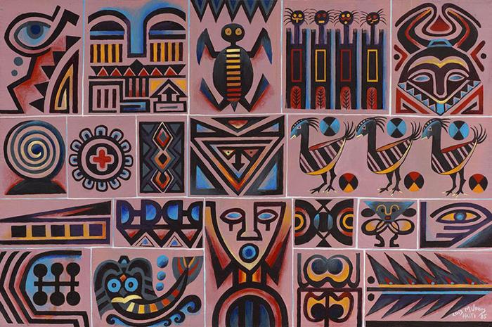 Абстрактная живопись с африканскими мотивами.