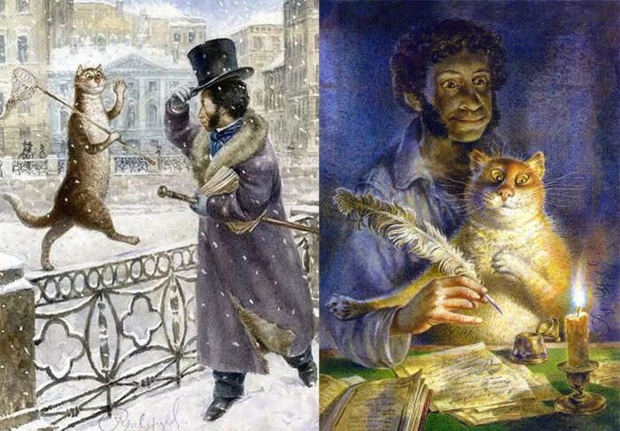 Встречи котов с Пушкиным.