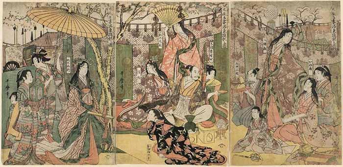 Роковой триптих «Развлечения Тоётоми Хидэёси и его пяти наложниц к востоку от центра столицы»