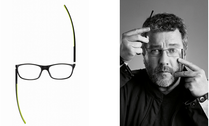 Филипп Старк демонстирует очки собственного дизайна.