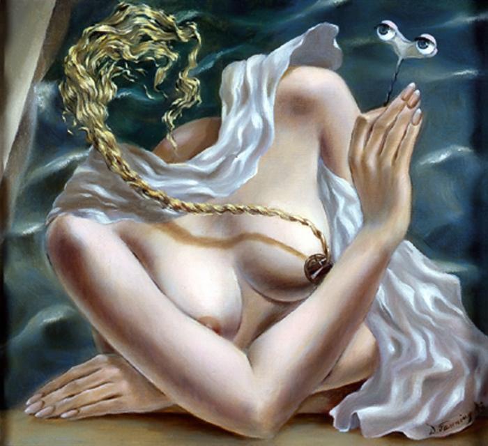 Доротея Таннинг экспериментировала с образом тела в своих картинах.