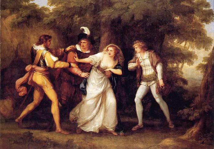 Валентин спасает Сильвию от двух веронцев.