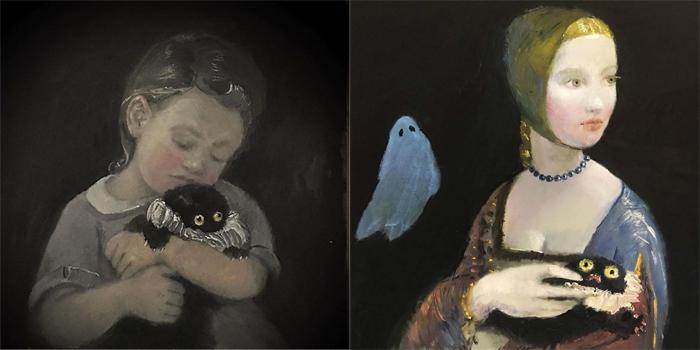Черный котенок на руках у героинь работ классиков.