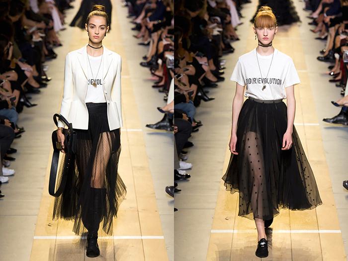 Показ первой коллекции Кьюри в Dior - футболки с феминистскими слоганами.