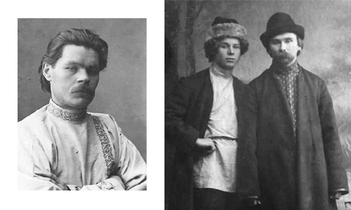 Максим Горький и Сергей Есенин в косоворотках.